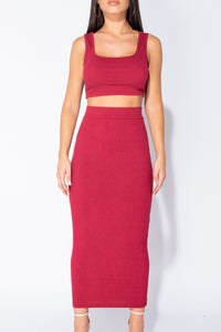 Wine Knit Rib Crop Vest Top & Matching Maxi Skirt Lounge Suit