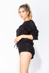 Black Basket Weave Cropped Jumper & Shorts Lounge Set