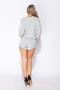 Grey Basket Weave Cropped Jumper & Shorts Lounge Set