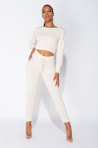 Off White Chenille Long Sleeve Crop Top & Legging Knitted Lounge Set