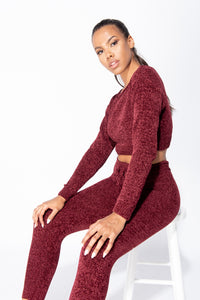 Wine Chenille Long Sleeve Crop Top & Legging Knitted Lounge Set