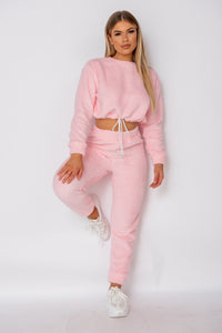 Baby Pink Teddy Borg Crop Top & Jogger Lounge Set