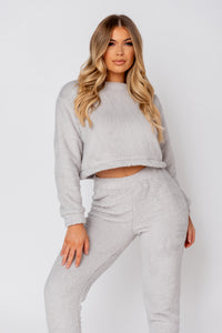 Light Grey Teddy Borg Crop Top & Jogger Lounge Set