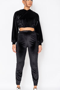 Black Velour Cropped Hoodie & Jogger Lounge Set