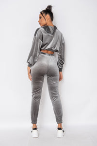 Grey Velour Cropped Hoodie & Jogger Lounge Set
