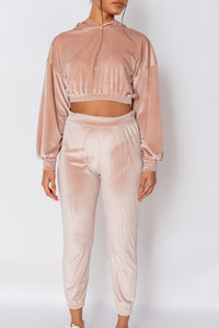 Rose Velour Cropped Hoodie & Jogger Lounge Set
