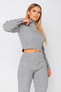 Grey Rib Knit Roll Neck & Legging  Lounge Set