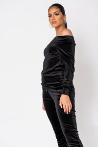 Black Velour Bardot Top & Jogger Lounge Set