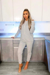 Grey Ruched Sleeve Oversized Hoodie & Jogger Lounge Set