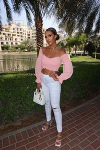 Pink Shirred Balloon Sleeve Crop Top