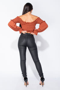 Rust Shirring Detail Long Sleeve Bardot Crop Top