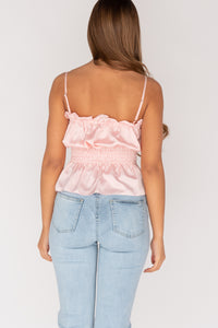 Pink Shirring Detail Frill Hem Cami Top