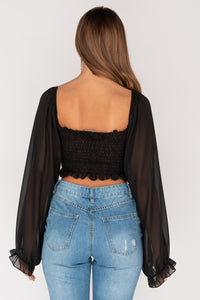 Black Shirred Balloon Sleeve Crop Top