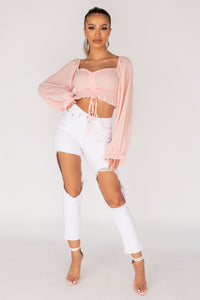 Pink Shirring Detail Tie Up Front Sheer Sleeve Crop Top