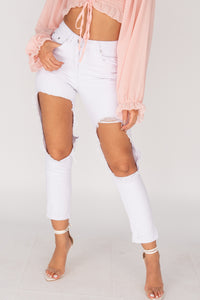 White Extreme Distressed High Waist Jeans