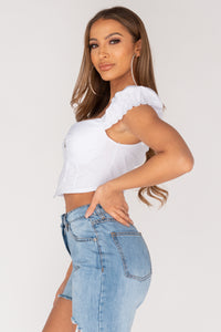 White Corset Style Zip Front Puffed Sleeve Top