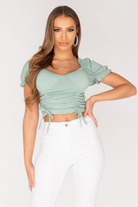 Mint Corset Style Shirring Detail Tie Front Crop Top