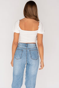 White Corset Style Shirring Detail Tie Front Crop Top