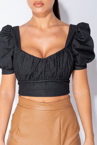 Charcoal Puff Sleeve Sweetheart Neckline Denim Crop Top