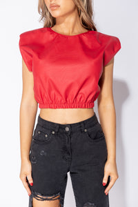 Red PU Shoulder Pad Detail Sleeveless Crop Top