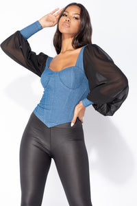 Denim Blue Corset Detail Top With Sheer Sleeves