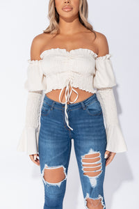 Beige Shirring Detail Ruched Front Flare Sleeve Crop Top
