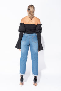 Black Shirring Detail Ruched Front Flare Sleeve Crop Top