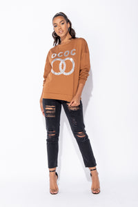 Rust Sequin Logo Oversized Sweatshirt Top