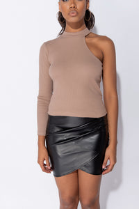 Mocha Knit Rib One Shoulder Turtle Neck Top