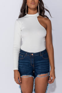 Off White Knit Rib One Shoulder Turtle Neck Top