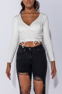 Off White Rib Knit Cross Front Tie Detail Long Sleeve Crop Top
