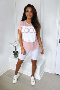 Pink Coco Slogan Fitted T Shirt