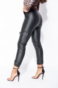 Black PU Front Zip Side Pocket Utlity Trouser