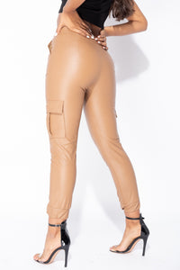 Tan PU Front Zip Side Pocket Utlity Trouser
