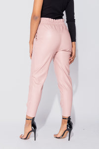 Rose PU Paperbag Waist D Ring Self Belt Tapered Leg Trousers