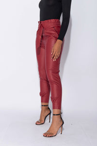 Wine PU Paperbag Waist D Ring Self Belt Tapered Leg Trousers