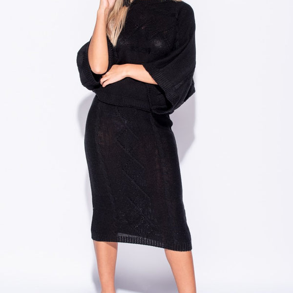Stockists of Black Cable Front Skirt and Top Suit