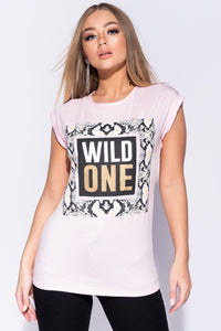 Pink Snake Print Wild One Logo Roll Up Sleeve T Shirt