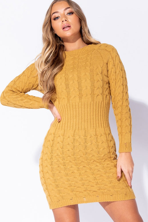 Image: Mustard Cable Knit Long Sleeve Jumper Dress