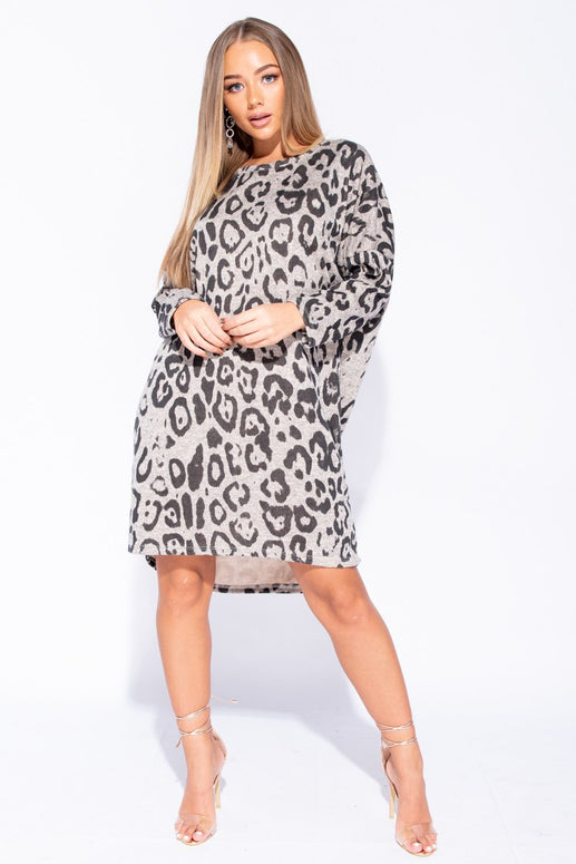 Image: Stone Leopard Print High Low Hem Long Sleeve Jumper Dress