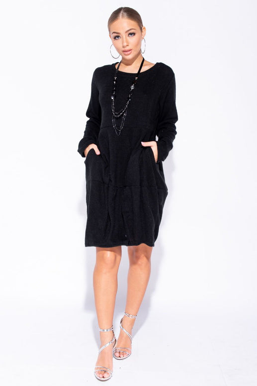 Image: Black Necklace Trim Pocket Detail Knit Jumper Dress - Parisian-uk