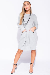 Grey Necklace Trim Pocket Detail Knit Jumper Dress - Parisian-uk