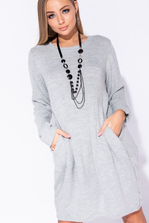 Image: Grey Necklace Trim Pocket Detail Knit Jumper Dress - Parisian-uk