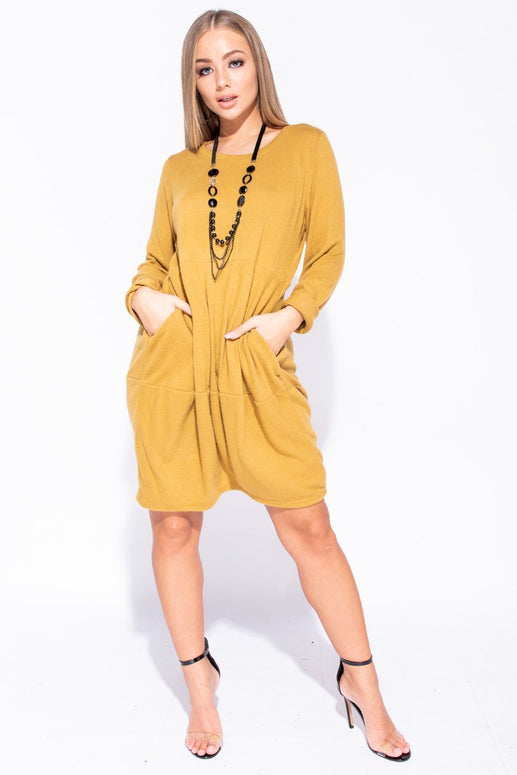 Image: Mustard Necklace Trim Pocket Detail Knit Jumper Dress