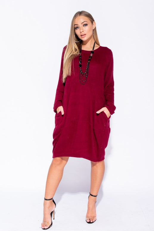 Image: Wine Necklace Trim Pocket Detail Knit Jumper Dress