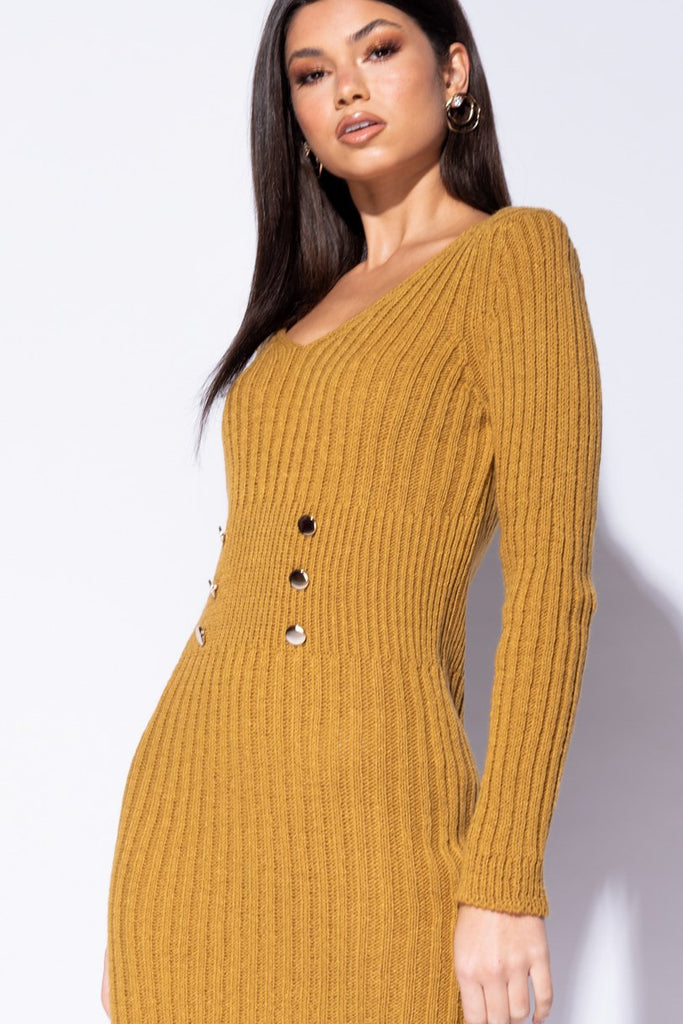 Mustard Button Detail Plunge Neck Knit Dress