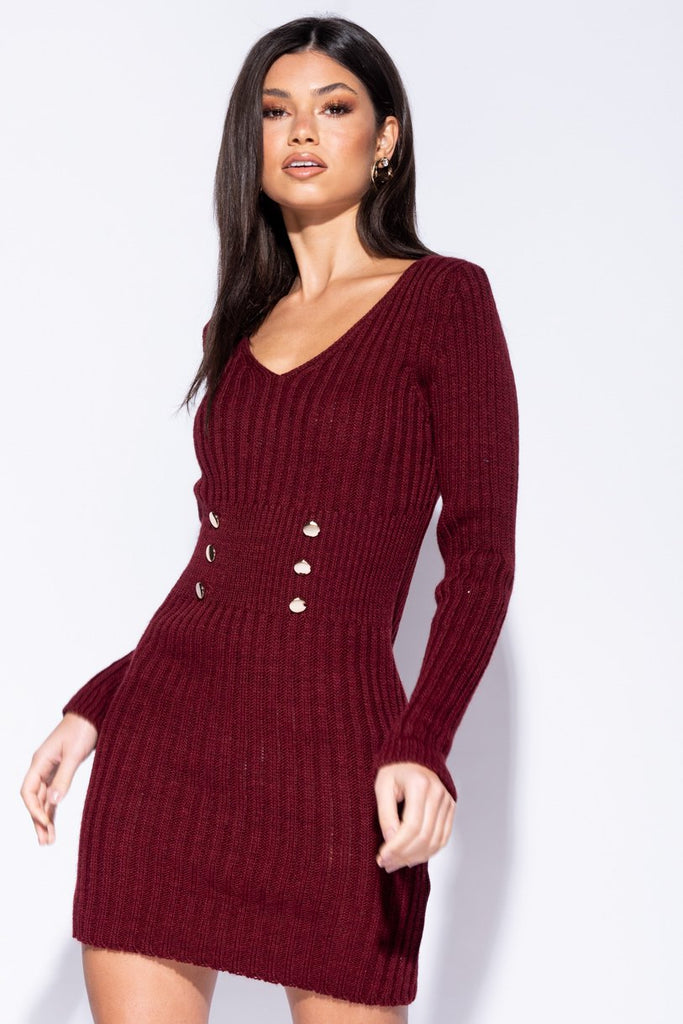 Wine Button Detail Plunge Neck Knit Dress