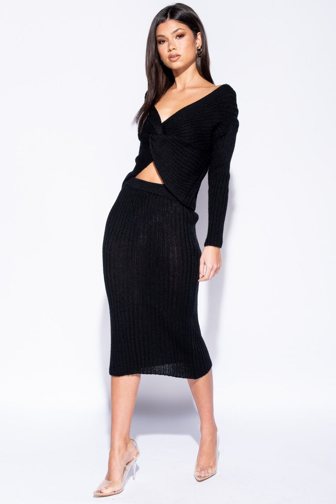 Image: Black Twist Front Rib Knit Co-Ord Set - Parisian-uk