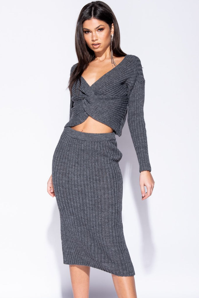 Image: Charcoal Twist Front Rib Knit Co-Ord Set - Parisian-uk