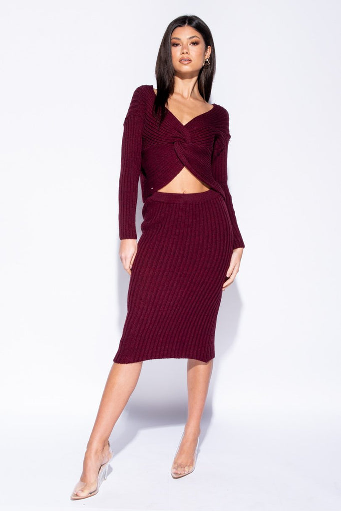 Image: Wine Twist Front Rib Knit Co-Ord Set